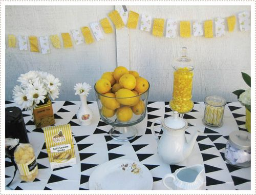 weddingwhims: yellow  black tea party vis mermag. look at that black  white bunting tablecloth!