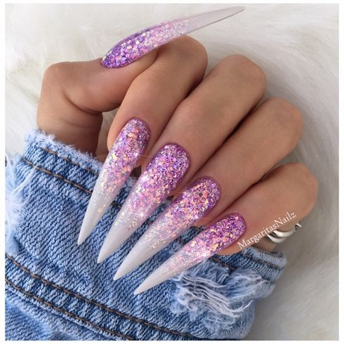 Lavender Glitter Ombr Stiletto Nails By Margaritasnailz Nail Art