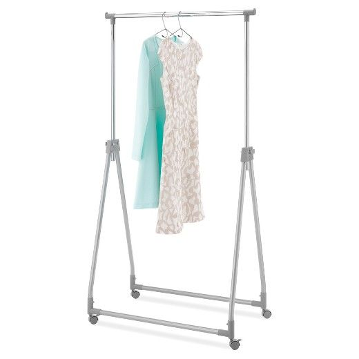 Whitmor Foldable Collapsible Garment Rack Silver Metal Garment