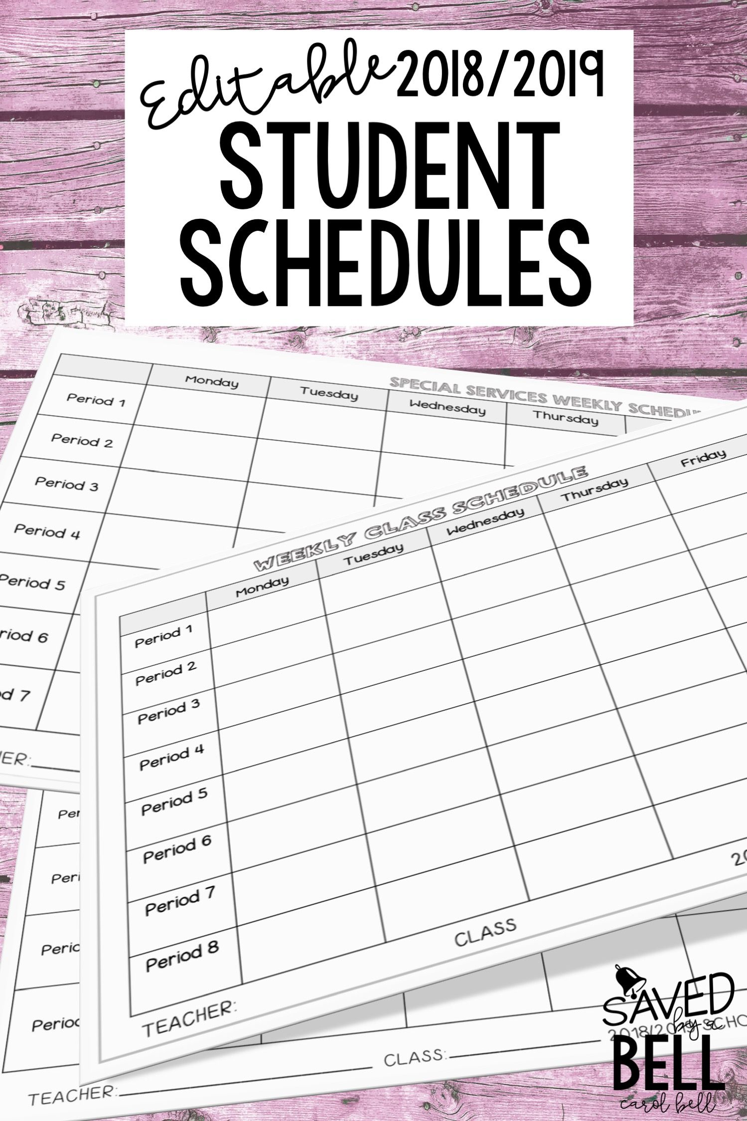 Editable Student Schedules Class And Special Services Distance
