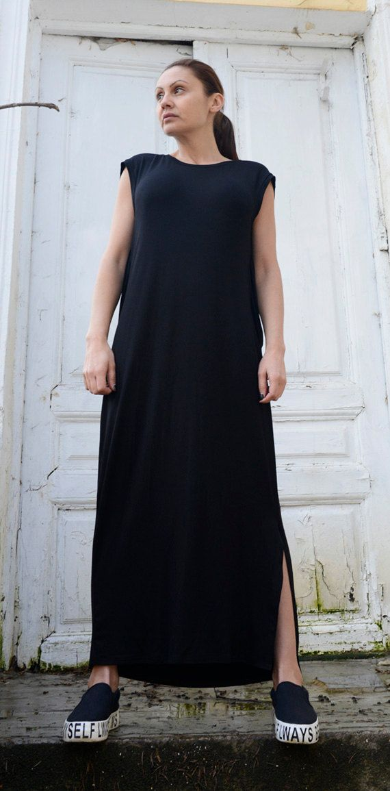 55ef29ae6a77 Black Maxi Dress/Sleeveless Oversize Tunic/Loose Draped Dress/Plus ...