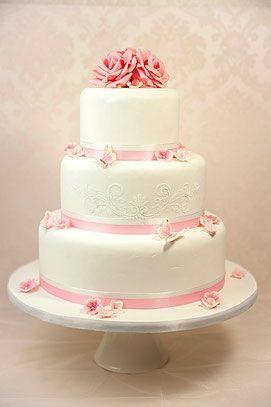 Hochzeitstorte Weiss Rosa