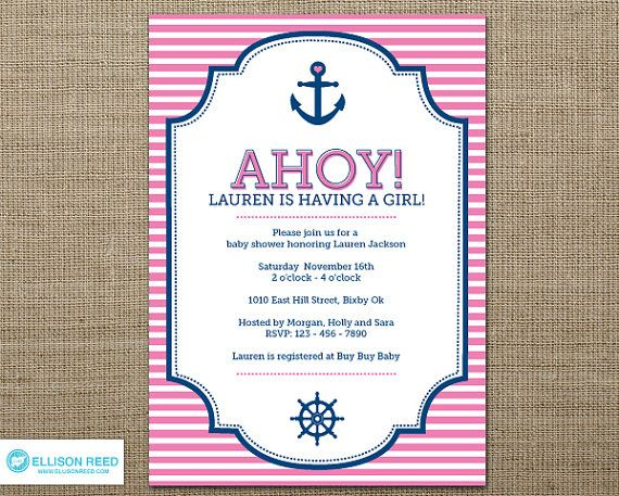 Nautical Invitation   Nautical Baby Shower Invitation   Anchor Invitation    Nautical Printable   Girl Baby Shower   Baby Shower Invitation