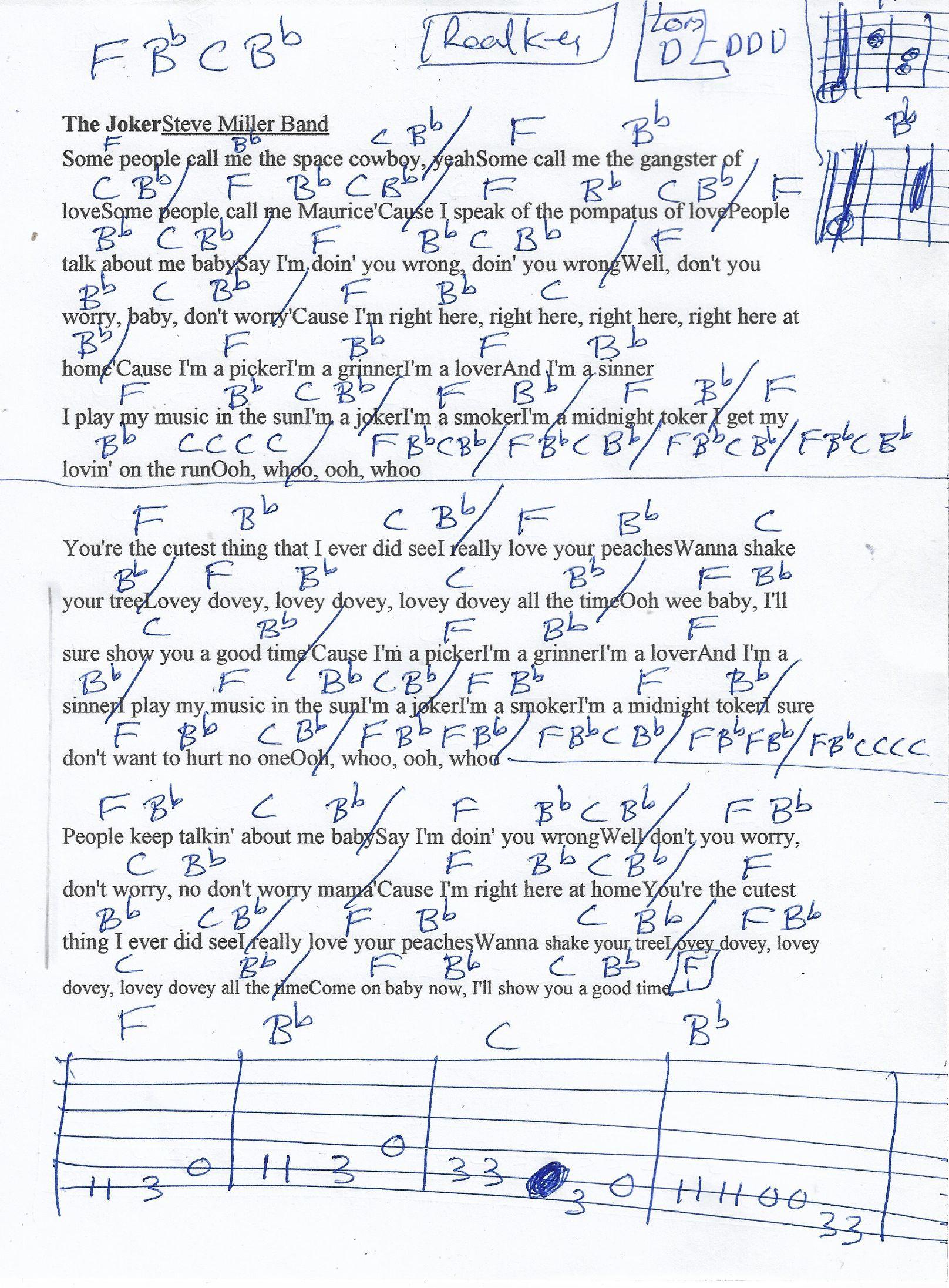 The Joker Steve Miller Guitar Chord Chart in F Major   Recorded ...