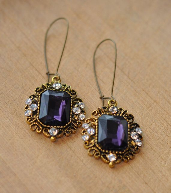 Antique Filigree Gold Purple Stone and by SouthernSassandSoul