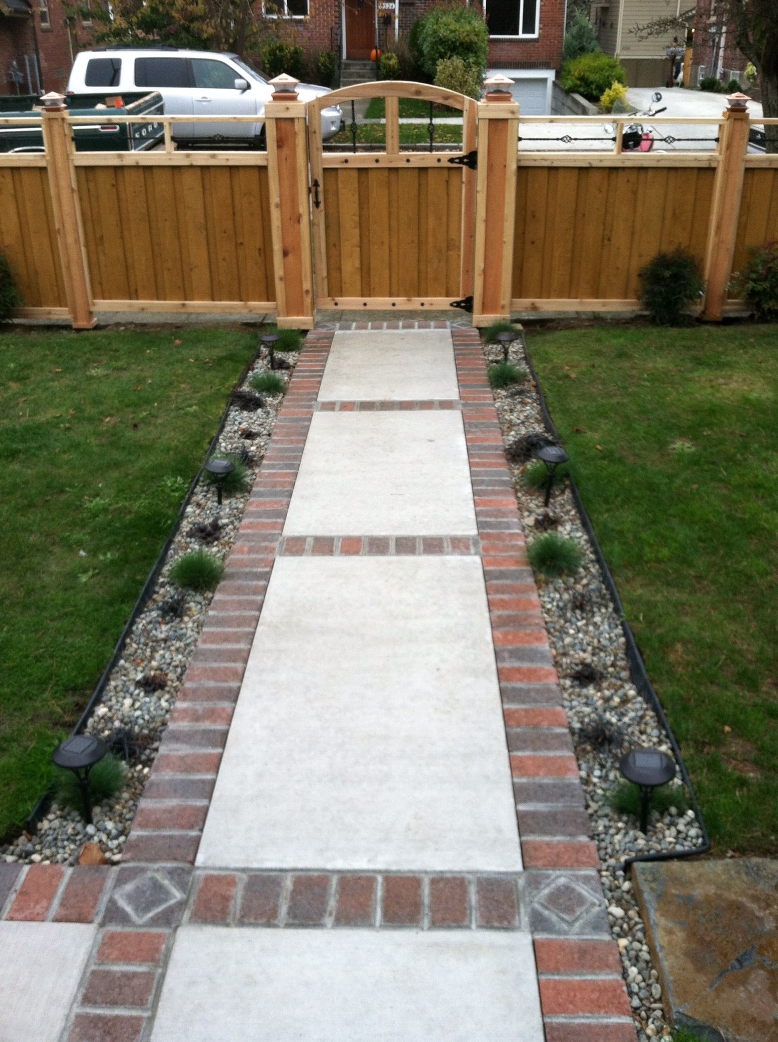 Brick and concrete walkway for the home pinterest for Cement garden paths