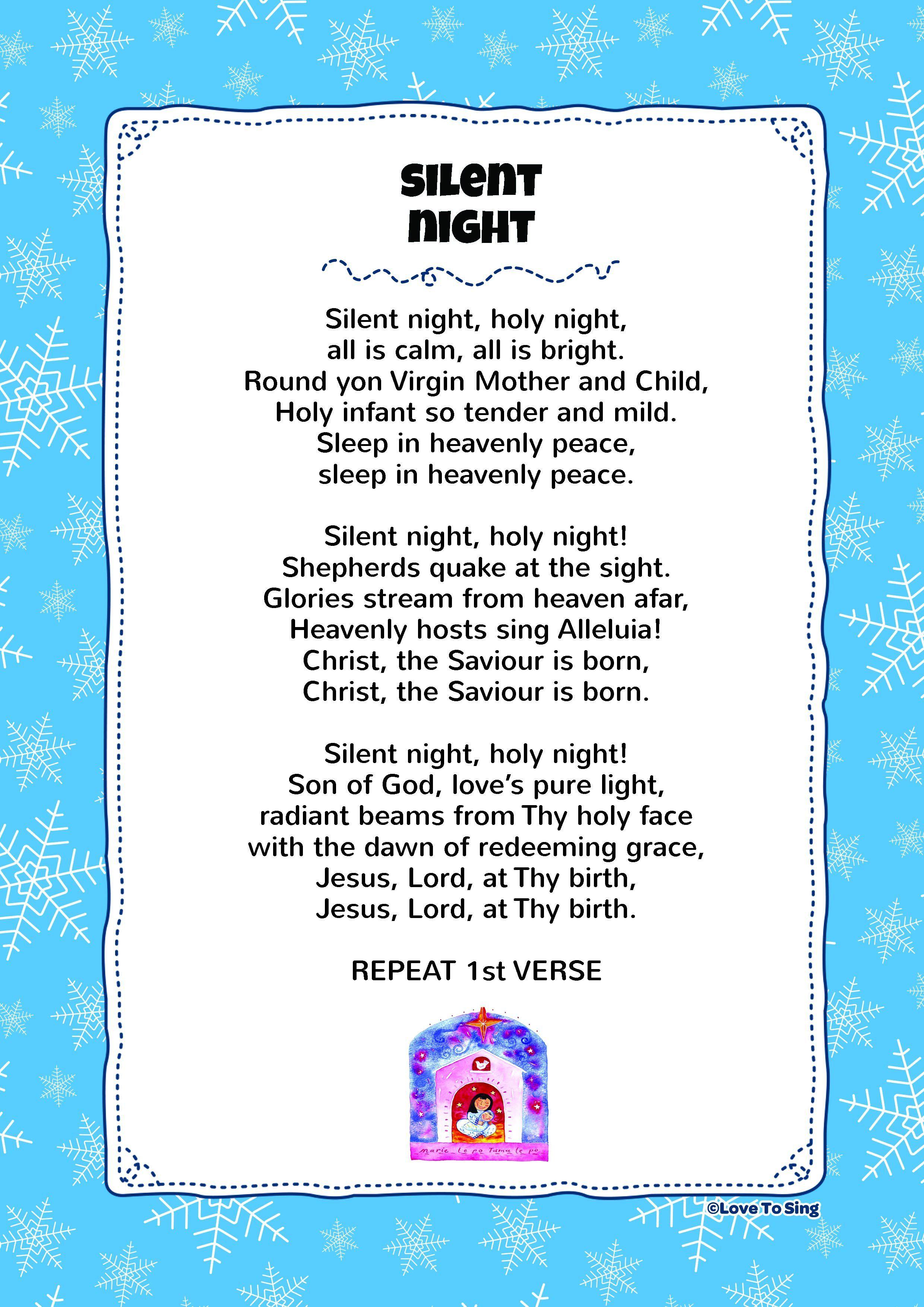Silent Night Christmas songs for kids, Christmas lyrics
