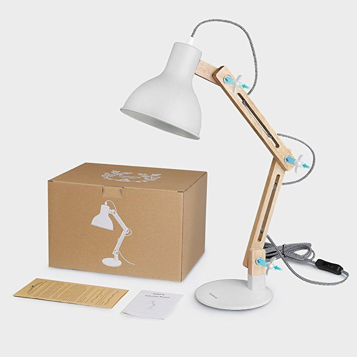 a5200313810a Tomons Wood Swing Arm Desk Lamp, Designer Table Lamp, Reading Lights, Study  Lamp, Work Lamp, Office Lamp, Bedside Nightstand Lamp - White:  Amazon.co.uk: ...