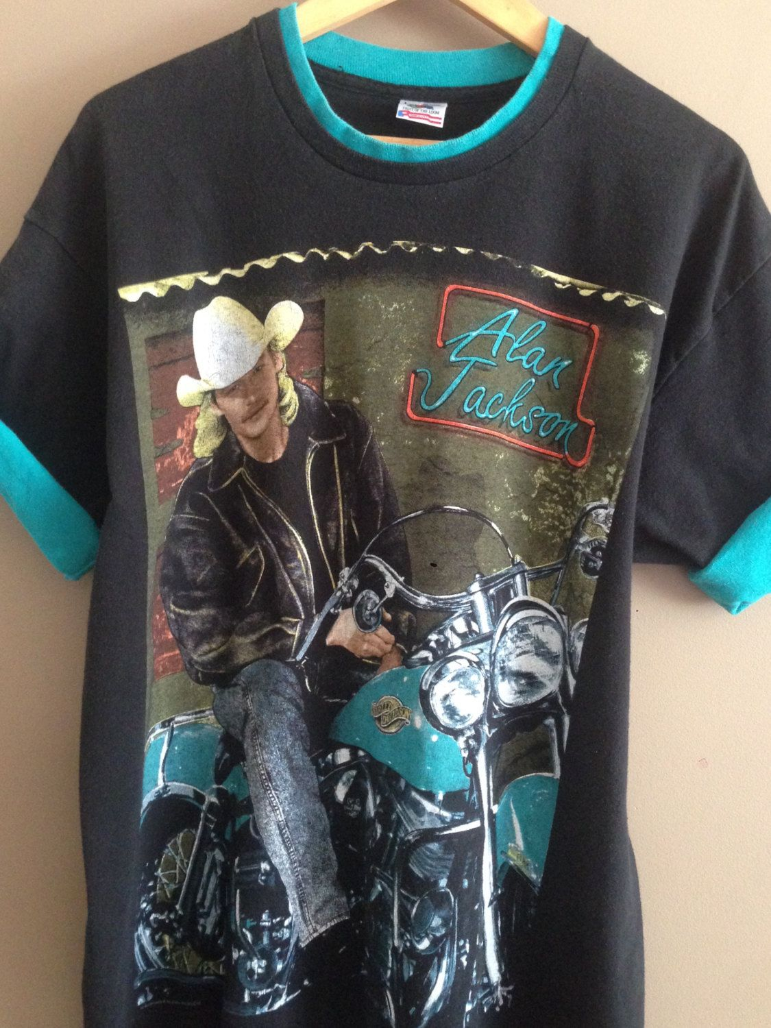 c3a993d999758f Alan Jackson T-shirt   Motorbike Shirt  Vintage Band Tee  Country Music   Alan Jackson  90s tee  90s tour shirt  Music Festival  Western Tee by  PioneerThrift ...
