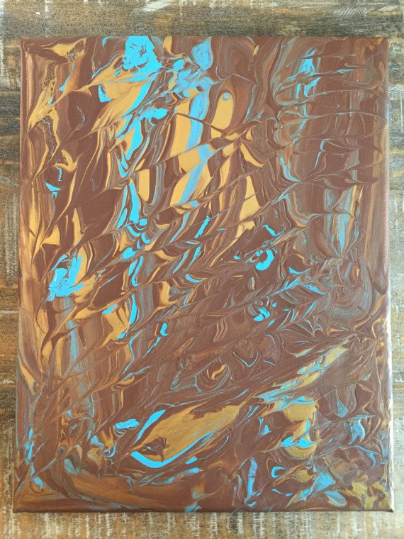 Warm Brown Gold Metallic and Turquoise Blue Marbled by StudioLDJ