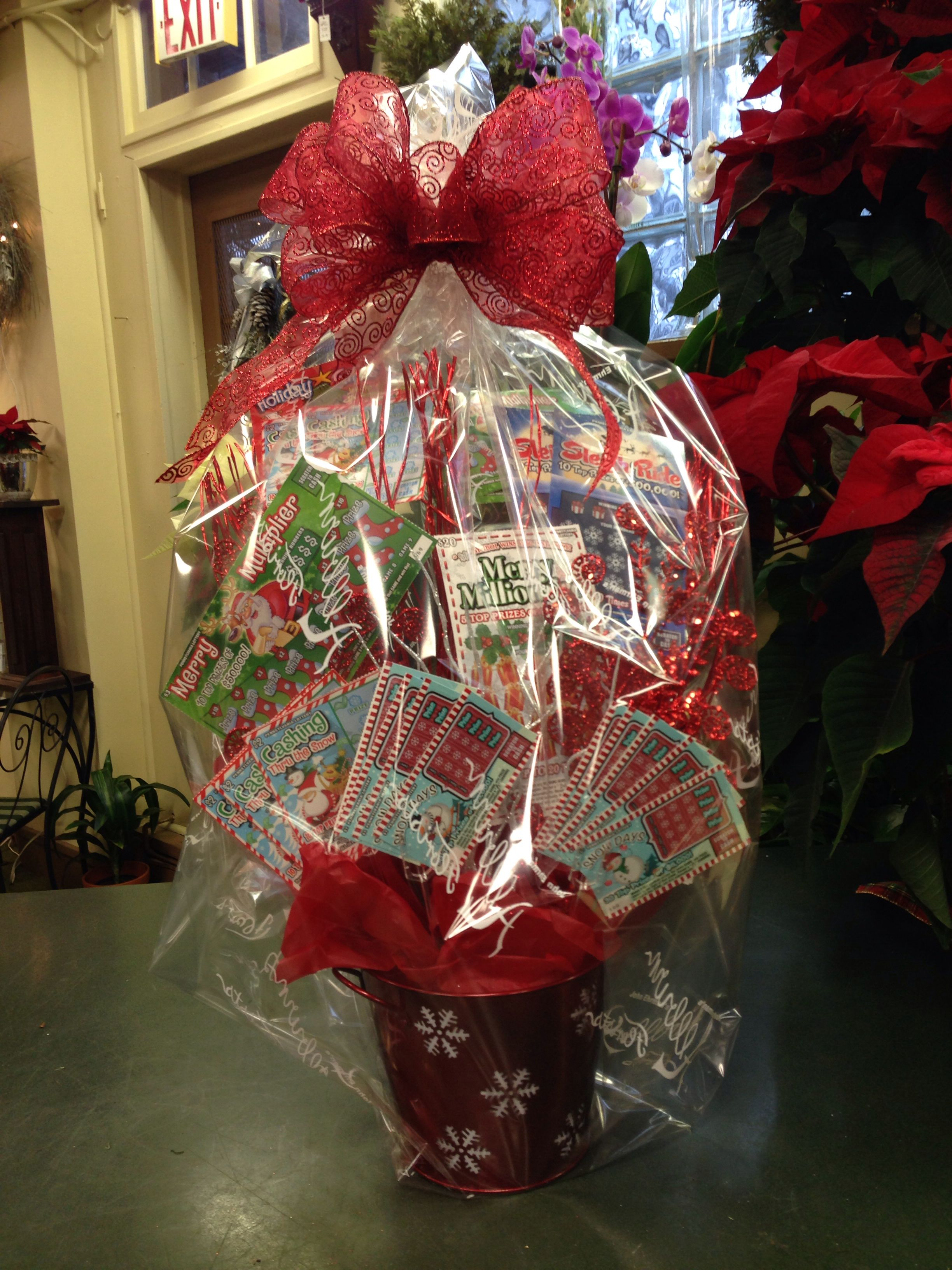 Lottery ticket basket themed gift baskets raffle