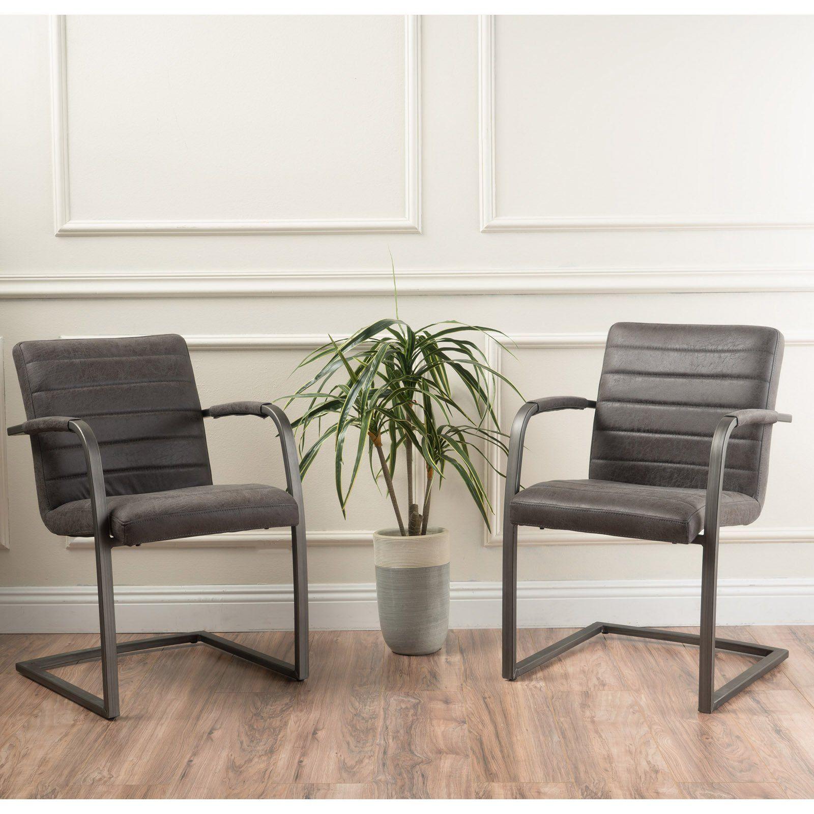 Alta Microfiber Arm Chair - Set Of 2 Slate