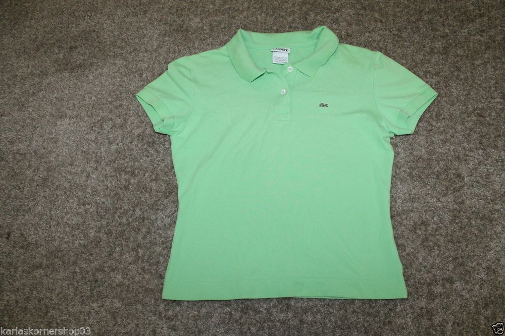 Izod Lacoste Short Sleeve Womens Green Polo Size 42 Large #Lacoste #PoloShirt #Casual