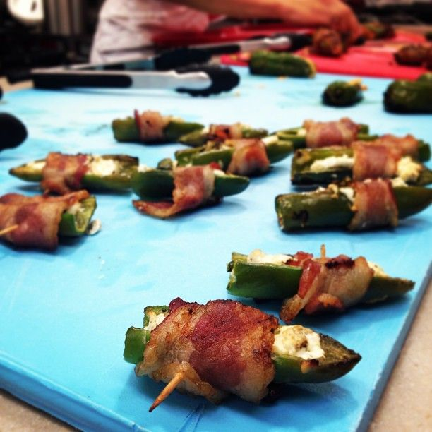 Mr. Coerver loves Bacon-wrapped Jalapeno poppers. Use turkey bacon and reduced fat string cheese Salty, sweet, spicy, savory= perfection   Serve with mango salsa 1/2 cup diced mango 1/2 cup diced pineapple  2 tbls chopped cilantro  1/8 cup diced red onion Throw everything in blend and make chunky