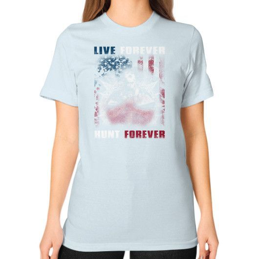 Live hunt forever Unisex T-Shirt (on woman)