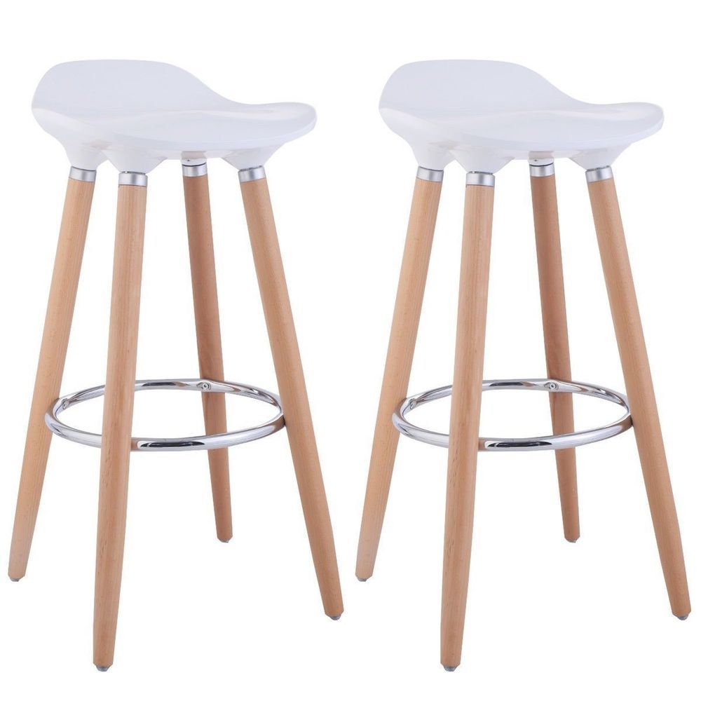 New 2x Barstool Solid Beech Legs Contoured Abs Seat Footrest For