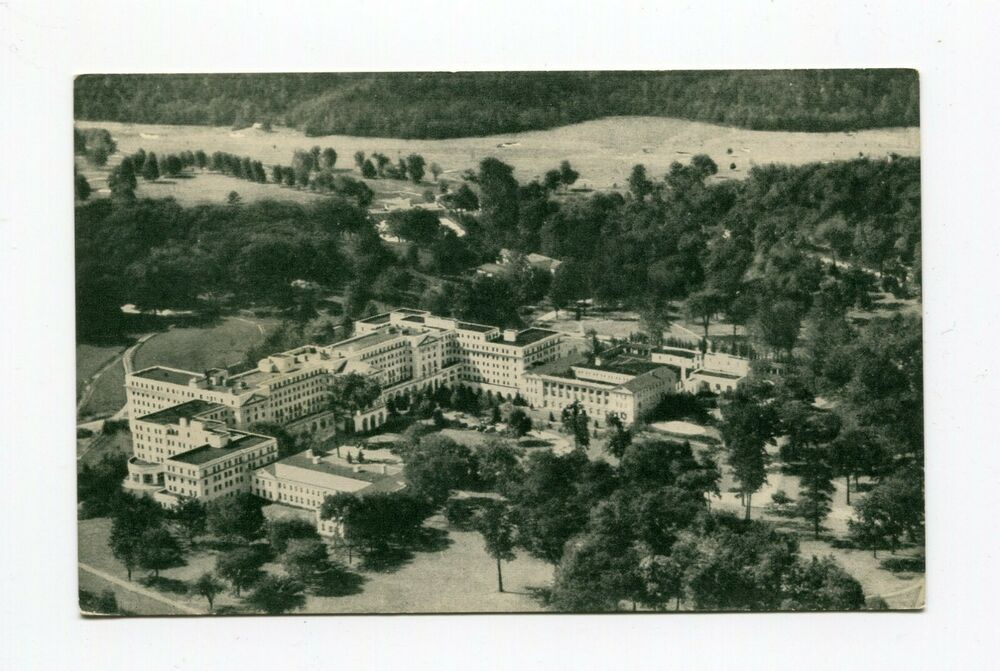 Postcard Greenbrier Hotel and Cottages Aerial View White