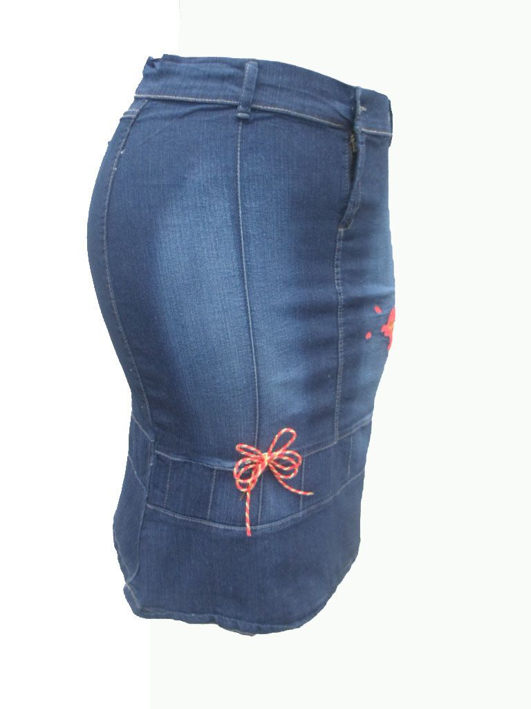 cdd0c96c1 falda dama en tela jeans stress tallas de la 14 a la 20 color azul ...