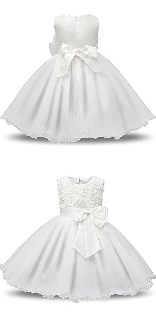 9ea7cdc18 Tueenhuge Girls Princess Dress 3D Flower Baby Toddler Wedding Bridesmaid  Party Formal Dress, White 110