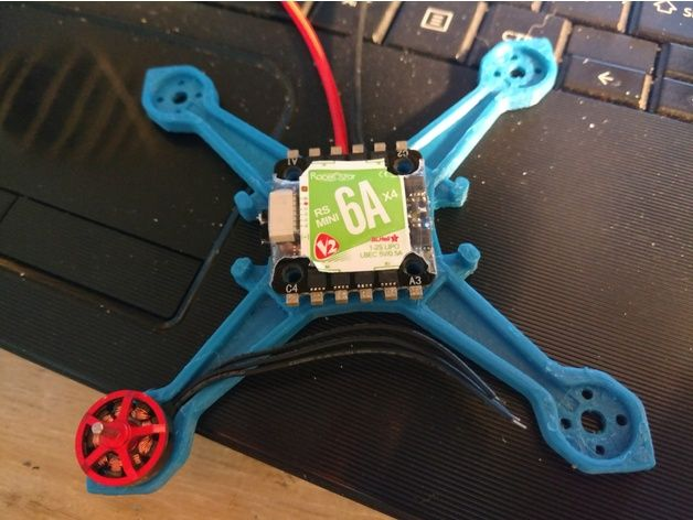 just a simple frame for racerstar 1103 motors. there is a 100mm version for 65mm props, and  91mm version for 56mm props. has mounts for 20x20 flight controllers and 4 in 1 escs.
