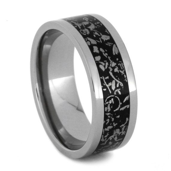 Black Stardust Wedding Band, Titanium Ring With Meteorite Shavings, Men or Womens Ring