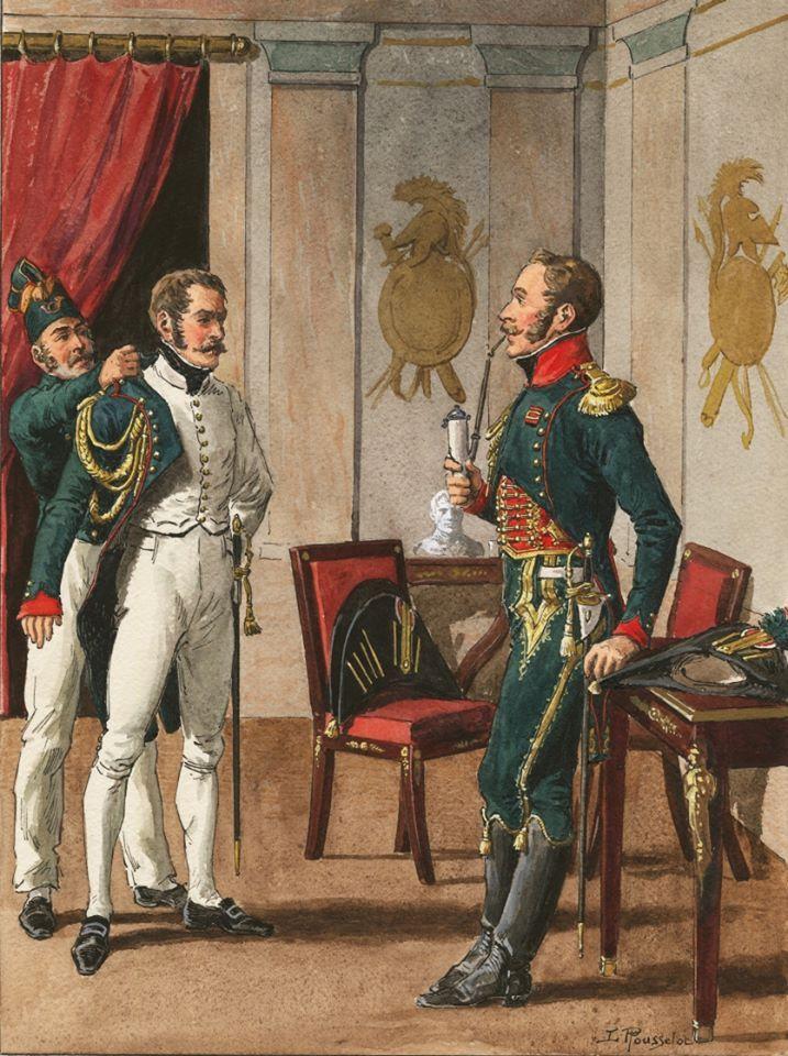french imperial guard chasseurs a cheval officiers tenue de ville et societe 1804 15. Black Bedroom Furniture Sets. Home Design Ideas