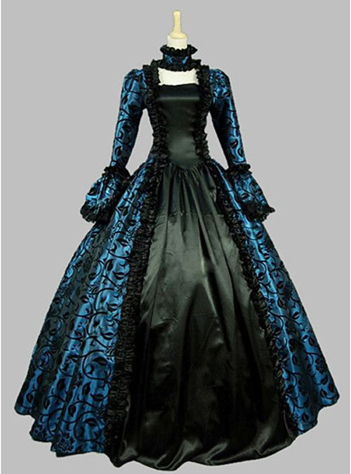 Marie Antoinette Lace Rococo Victorian 18th Century Dress Party Costume Masquerade Ball Gown Women's Lace Costume Red / Green / Blue Vintage Cosplay Satin Party Prom Long Sleeve Floor Length Ball Gown 2019 - US $88.99 #masqueradeballgowns