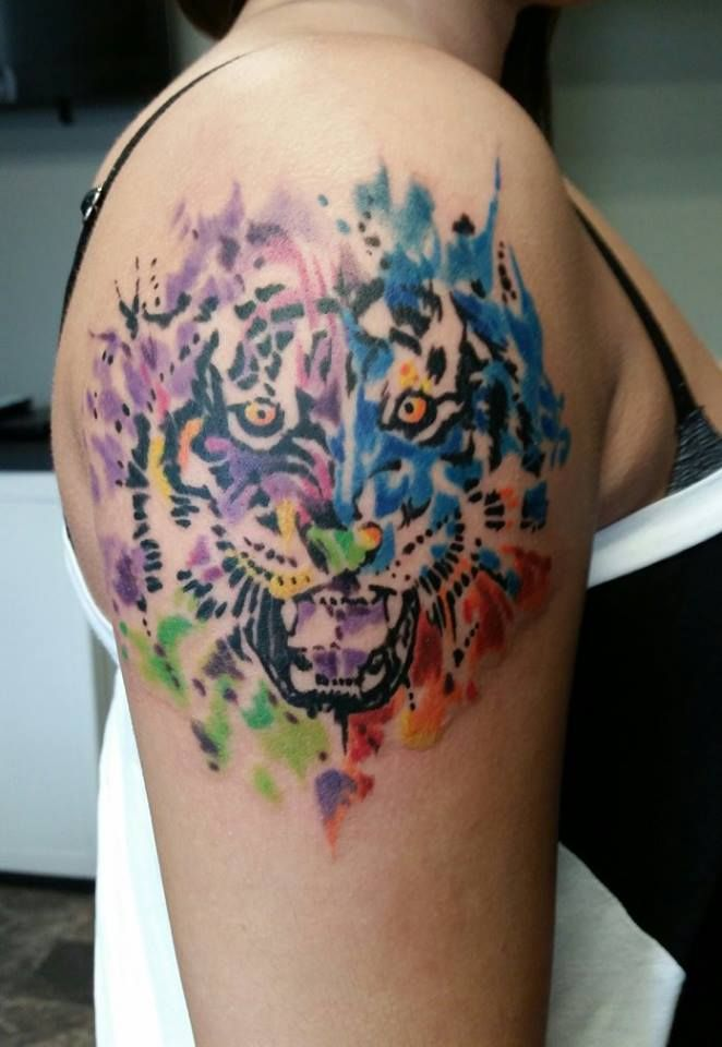 Custom abstract tiger tattoo from Hardcore Ink Body Art Studio in ...