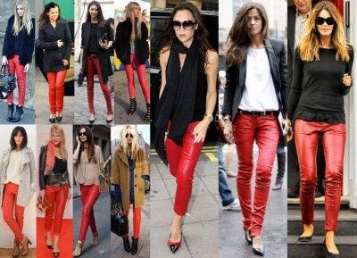 74ed7f8837 Pantaloni di pelle rossi. Must di stagione.   what to wear ...