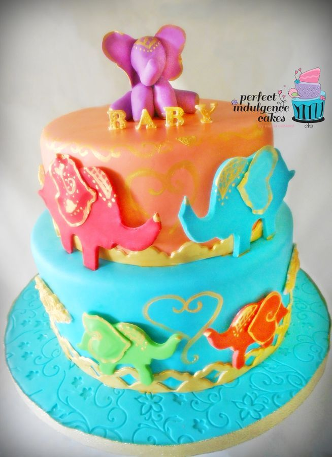 Baby Shower Cake Of Moroccan Elephants