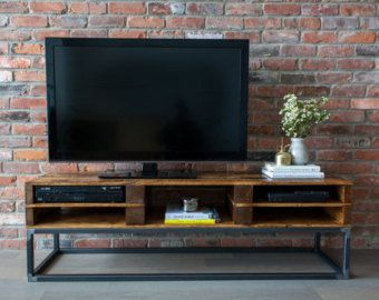 TV Console Reclaimed Pallet Wood, Media Stand, Entertainment Centre,  Storage, Condo Sized