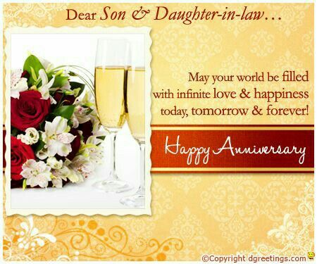 Happy anniversary son daughter in law greetings pinterest happy anniversary son daughter in law birthday daughter in law son in law m4hsunfo