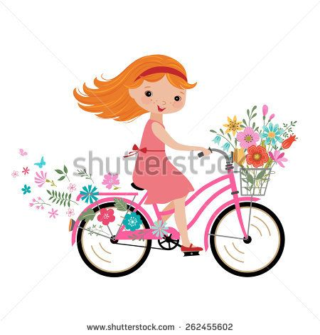 Happy Little Girl With Bunch Of Flowers Riding A Bike Bicycle Illustration Cute Girl Illustration Bicycle Painting
