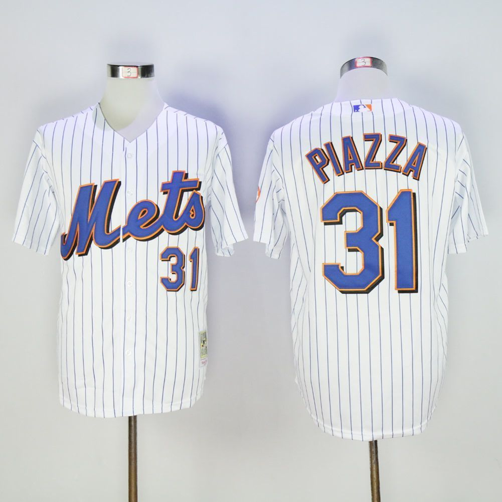 separation shoes 53a12 6c603 Men New York Mets 31 Piazza White Throwback MLB Jerseys ...