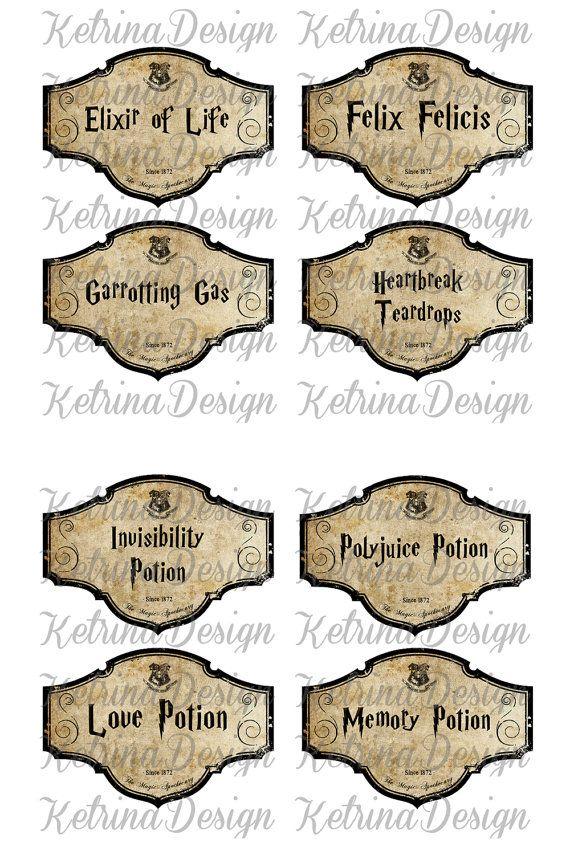 Halloween Harry Potter Potion Labels Jar Bottle by KetrinaDesign ...