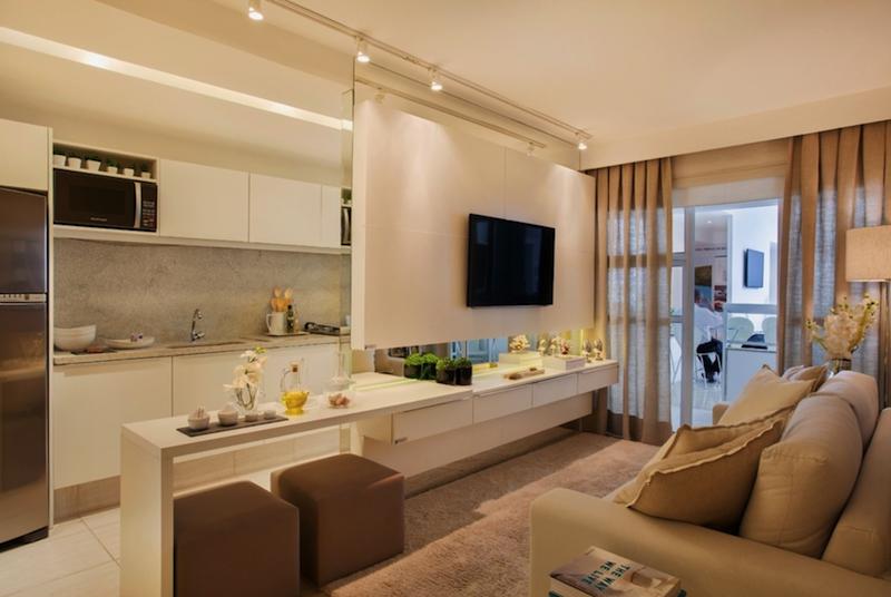 Decoraç u00e3o para apartamento pequeno (Dicas e truques para mudar o ambiente) sala pat Kitchen