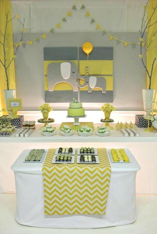 Yellow Gray Chevron Baby Shower Ideas Elephant Theme Baby