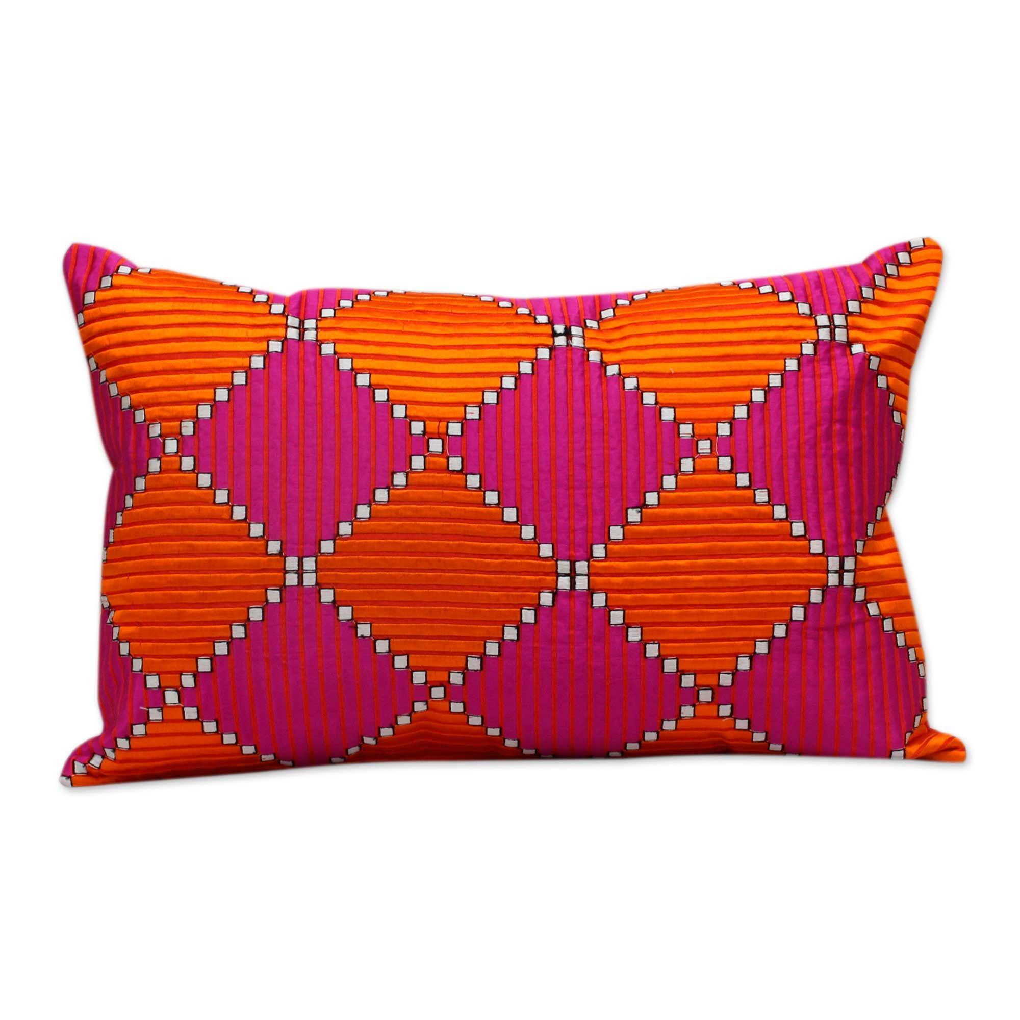Machine Embroidered Satin Stitch Geometric Cushion Cover Gardens