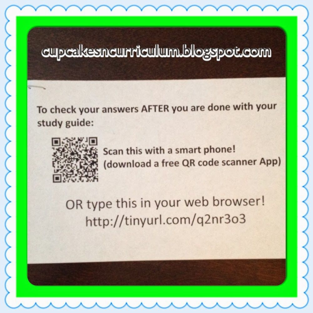 Cupcakes & Curriculum Google Docs and QR Codes for Answer