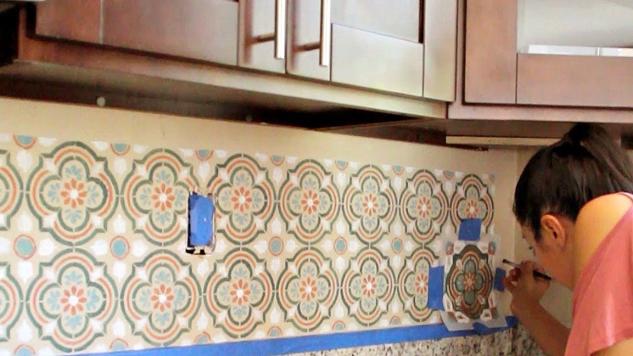 Video Tutorial How To Stencil A Diy Kitchen Tile Backsplash In 5 Easy Steps How To Paint Kitch Tile Stencil Kitchen Tiles Backsplash Diy Kitchen Backsplash