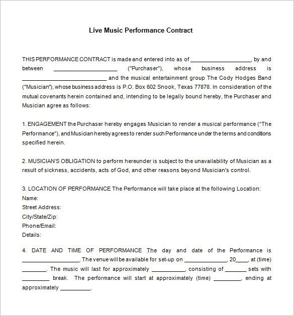 20 Music Contract Templates Word Pdf Apple Pages Google Docs