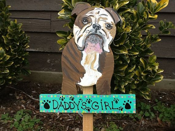 Bulldog Sign Garden Stake Lawn Ornament From By Lazyhoundworkshop