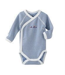 Newborn baby boy bodysuit in striped brushed cotton Lait white / Limoges blue. See our range of clothing and underwear for babies, children, women and men.