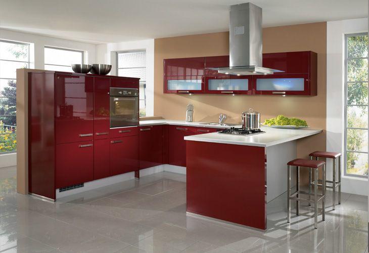 Küche in Rot #Kücheninsel #Designerküche www.dyk360-kuechen.de | El ...