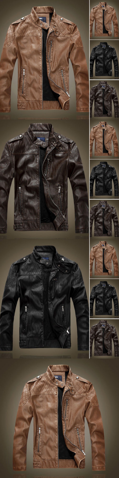 Men coats and jackets mens winter warm fleece lined biker jackets