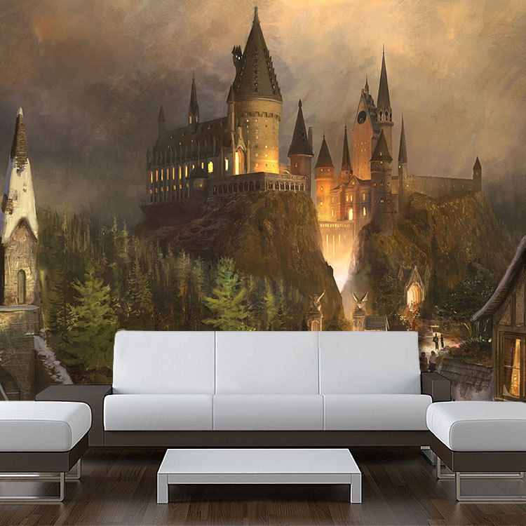 wall removable sticker hogwarts harry potter painting vinyl mural 94 x121 harry potter. Black Bedroom Furniture Sets. Home Design Ideas