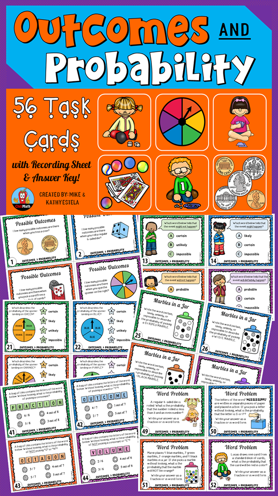 Outcomes And Probability Task Cards Task Cards Probability Math Probability