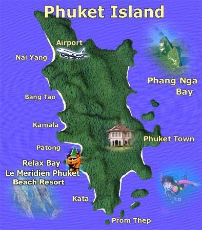 Phuket Island overview map Thailand Beaches Islands Pinterest