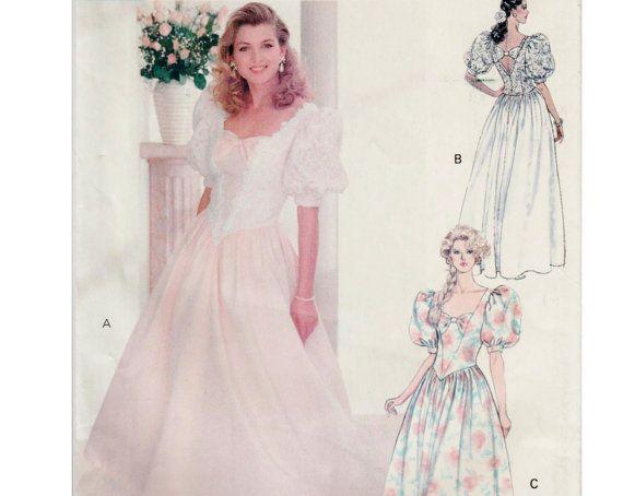 1990s Prom Dress Princess Dress Vintage Bridesmaid Dress BUTTERICK ...
