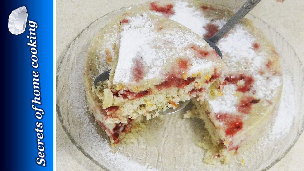 Strawberry and carrot cake made in the microwave  This cake recipe very easy. It is perfectly soft and moist.